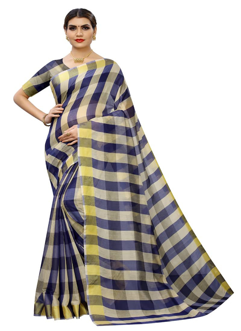 Simple Plain Navy Blue Cotton Silk Checked Saree