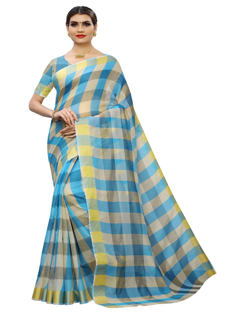 Plain Turquoise Color Pure Silk Cotton Saree