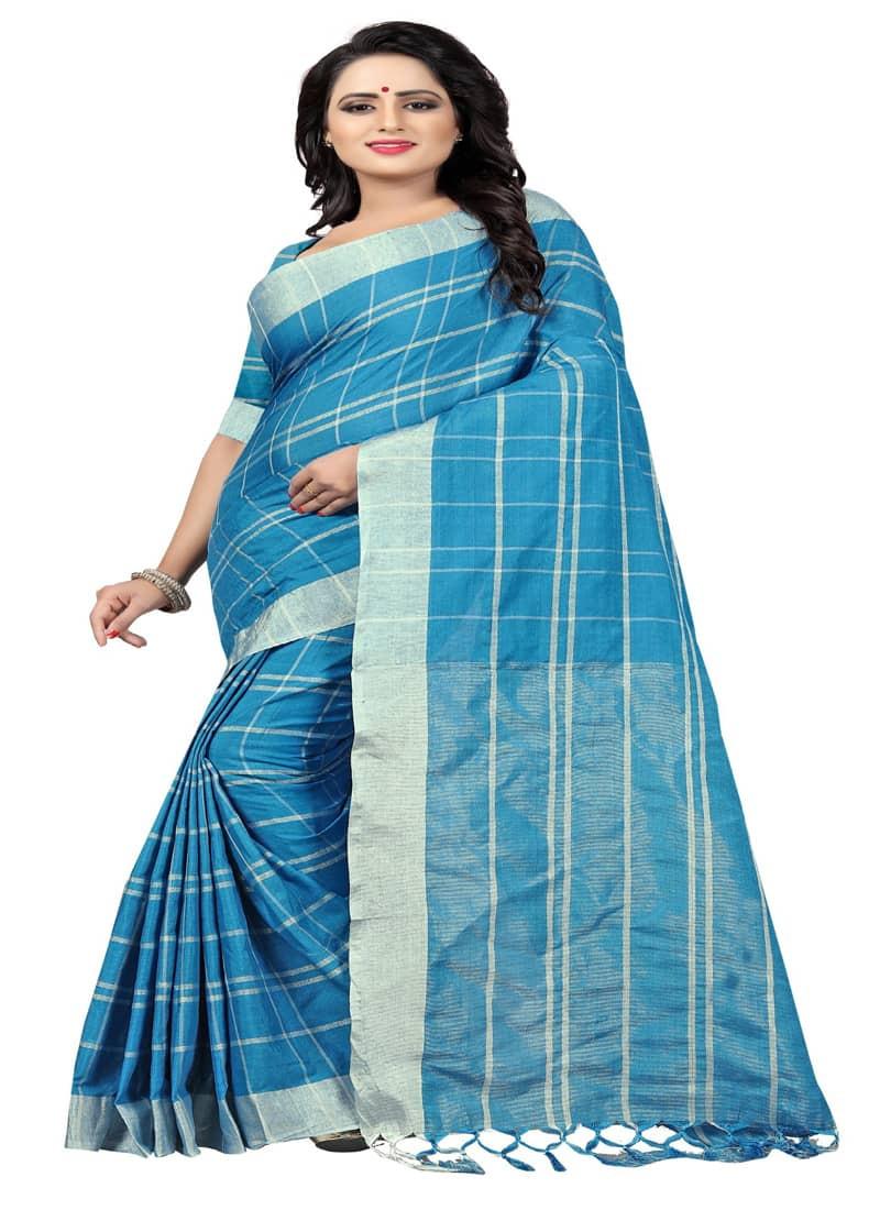 Plain Sky Blue Striped Silk Cotton Saree
