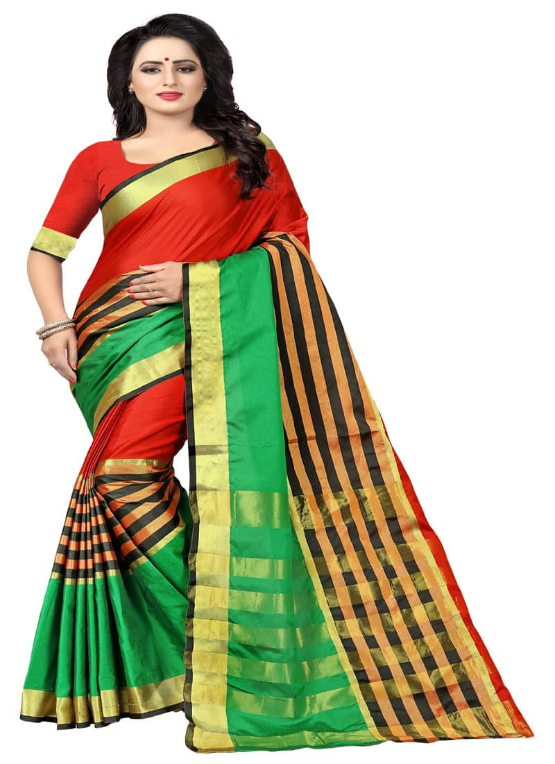 Simple Red and Green Striped Silk Cotton Saree