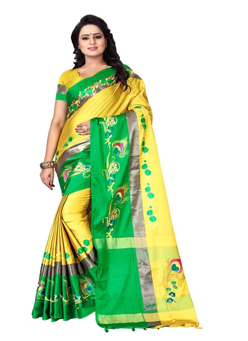 Designer Yellow and Green Printed Border Silk Saree