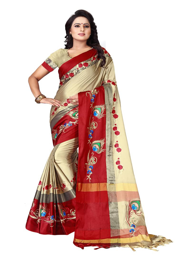 Buy Thread Work Beige Red Polyester Saree Online from YOYO Fashion