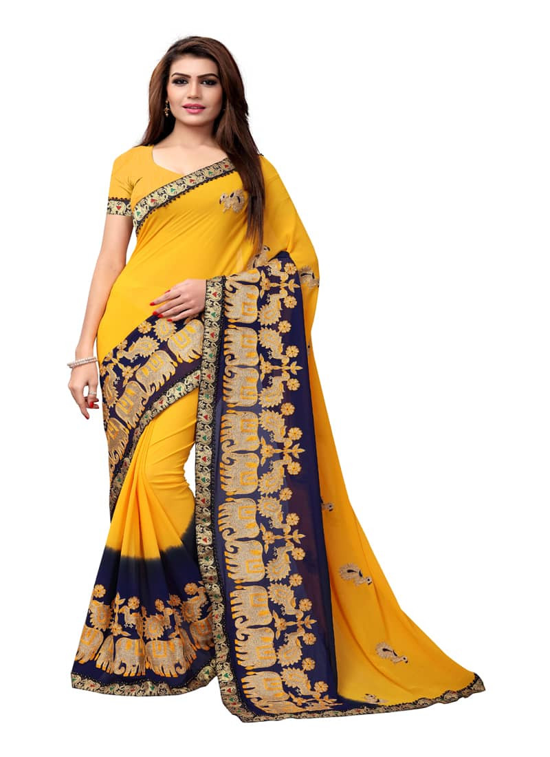 Buy Yellow Georgette Saree with Animal Embroidery  Online from YOYO Fashion