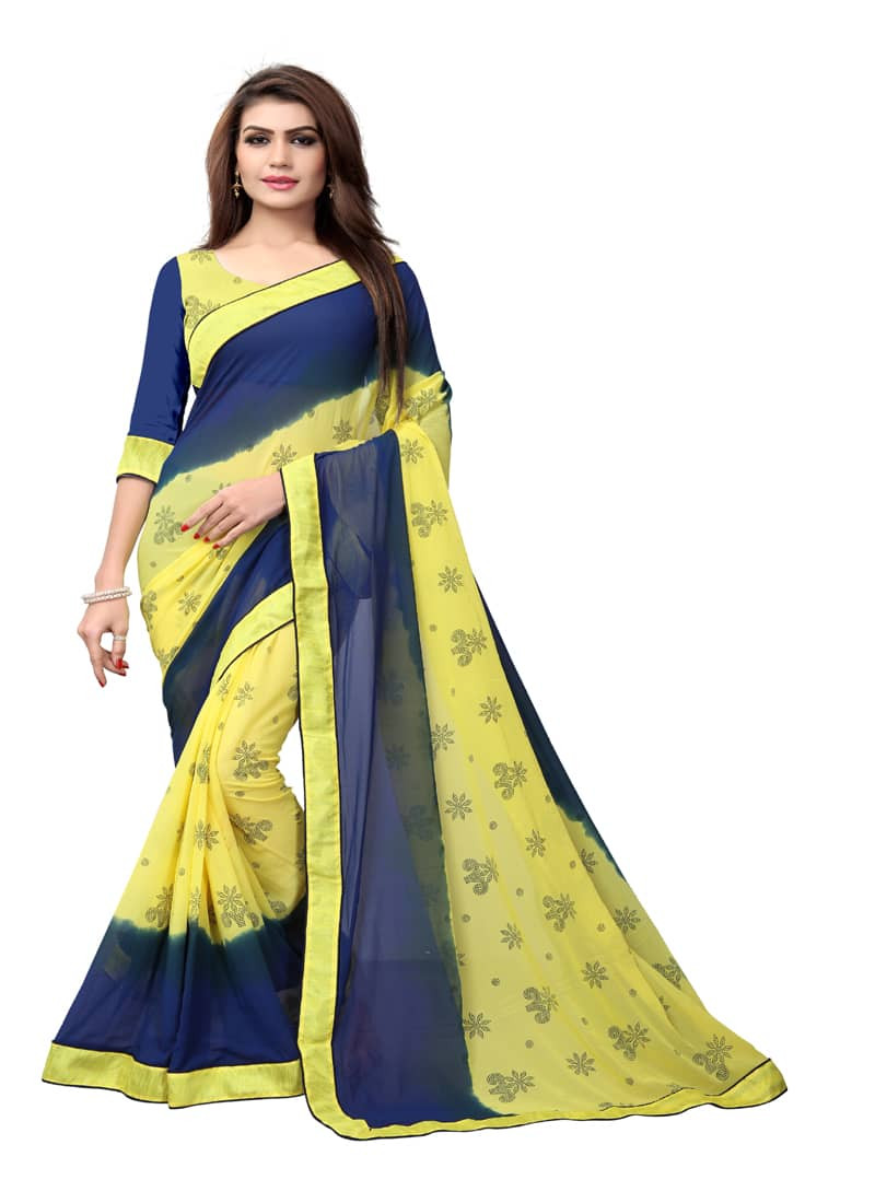 yellow-and-blue-floral-printed-georgette-saree