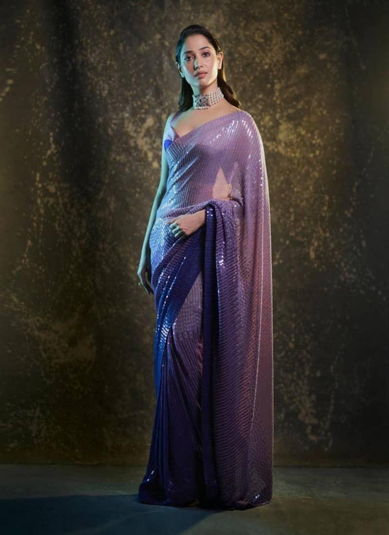 Tamannah Bhatia Manish Malhotra Purple Sequins Saree