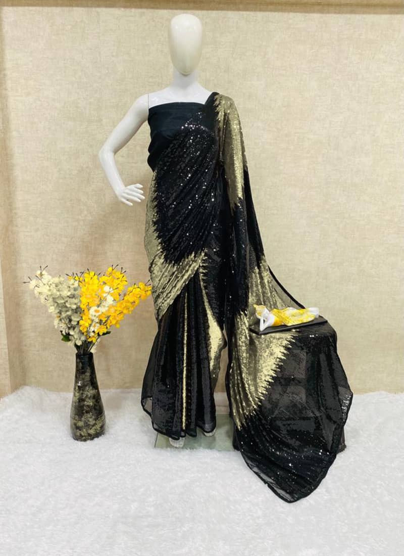 designer-black-and-golden-sequins-georgette-saree
