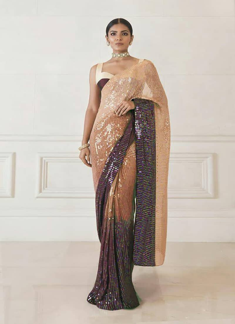 Manish Malhotra Style Brown Partywear Sequins Saree