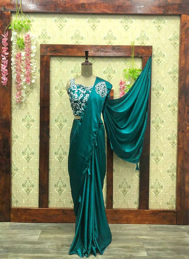 Designer Turquoise Satin Silk Saree with Designer Blouse