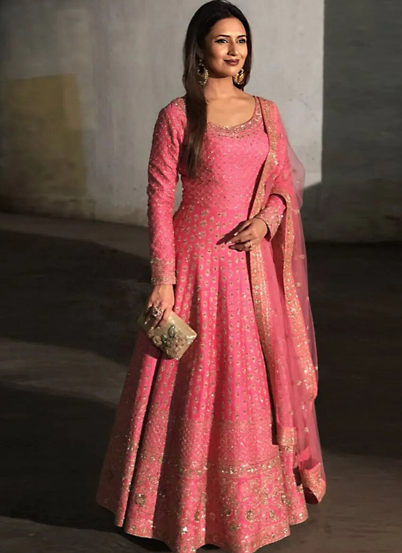 Buy Divyanka Tripathi Designer Pink Silk Anarkali Gown Online from YOYO Fashion