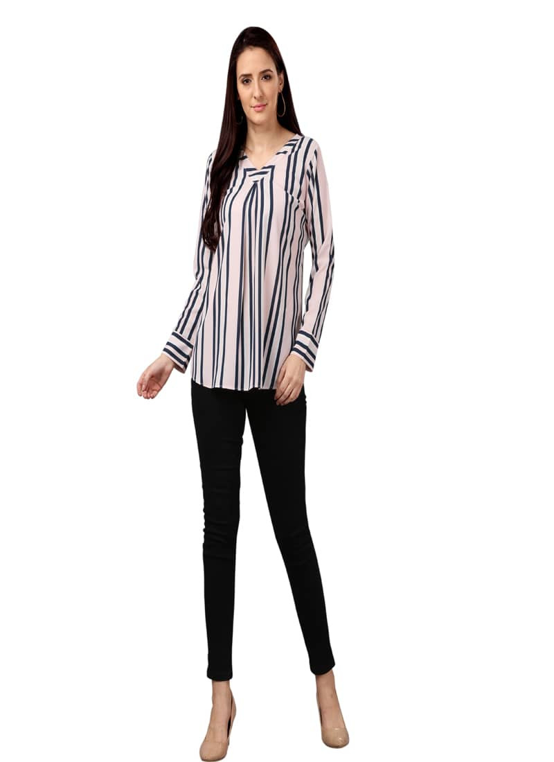 Light Pink Strips Printed Full Sleeves Top