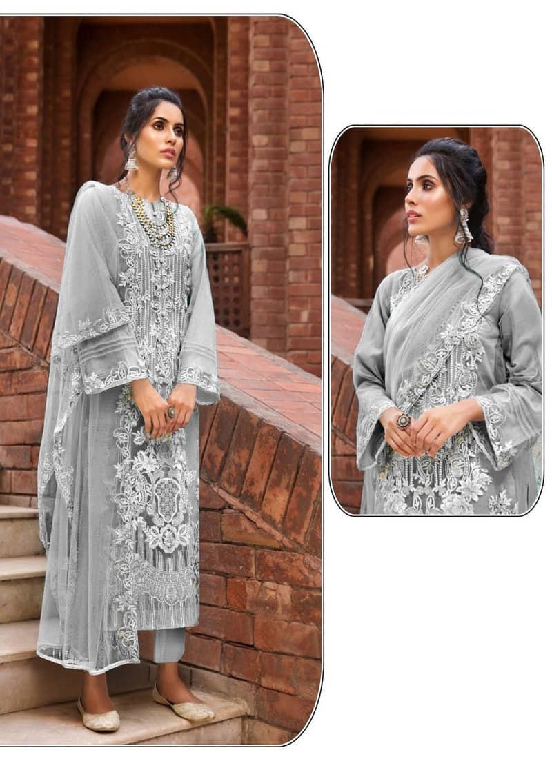 Designer Grey Embroidered Pakistani Suit