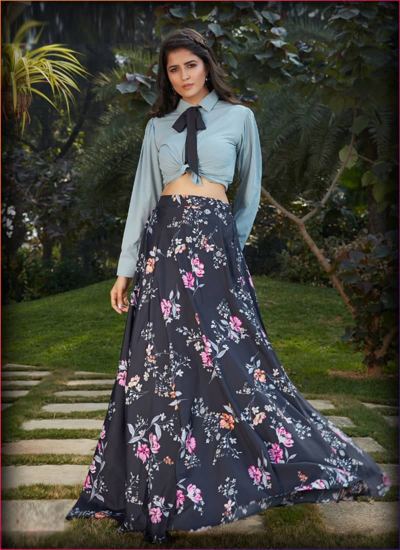 grey-and-black-floral-printed-crop-top-lehenga-choli