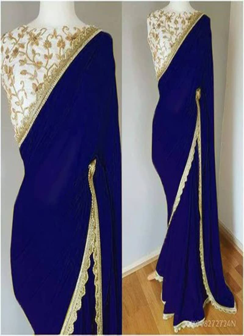 plain-blue-lace-border-saree-with-designer-blouse