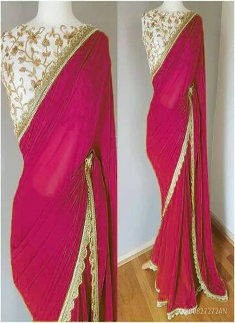 plain-simple-pink-banglory-silk-saree