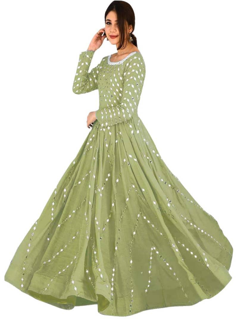 Light Green Designer Embroidered Anarkali Gown
