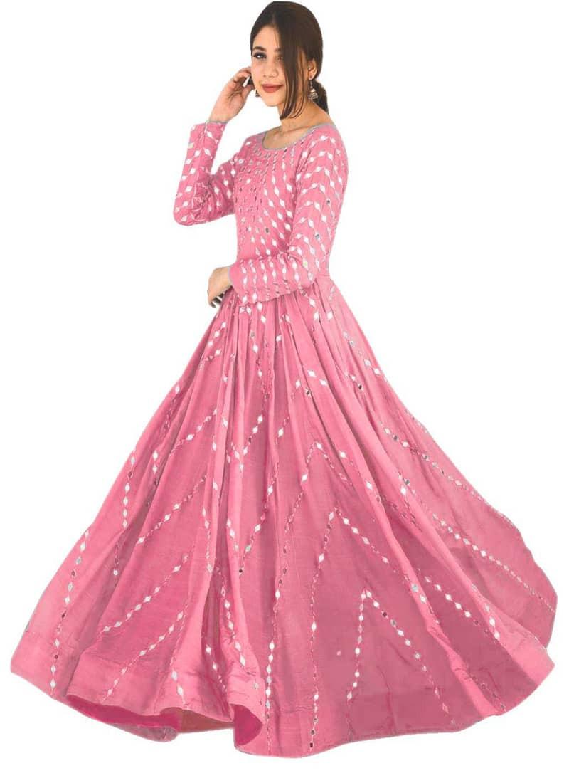 Designer Stylish Pink Mirror Work Anarkali Gown