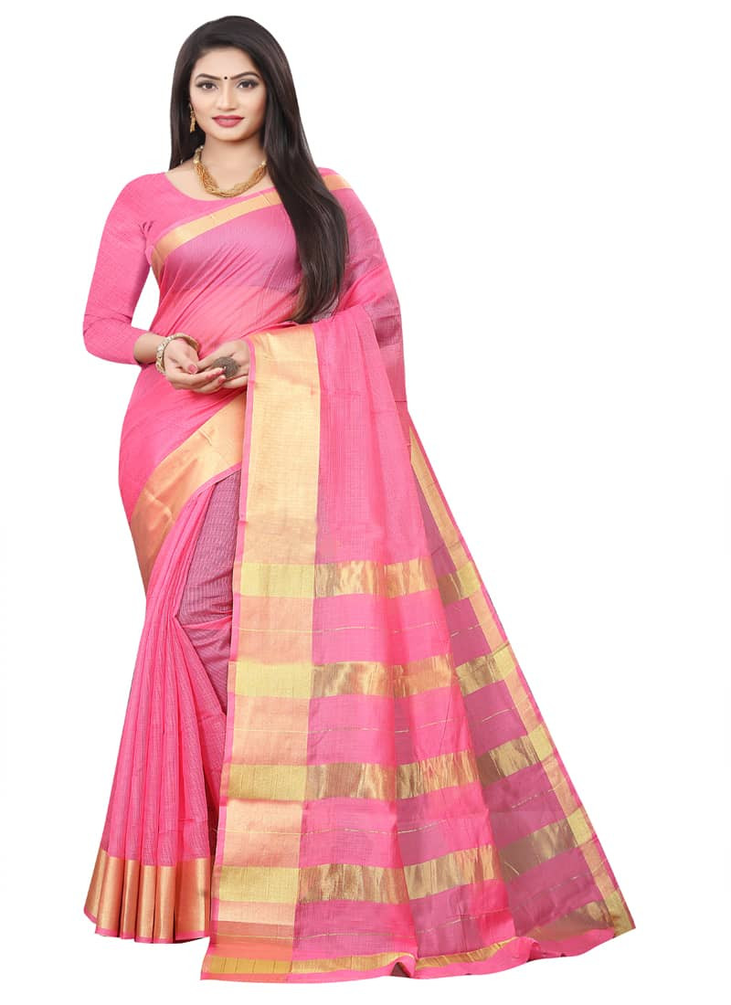 partywear-pink-designer-cotton-silk-saree