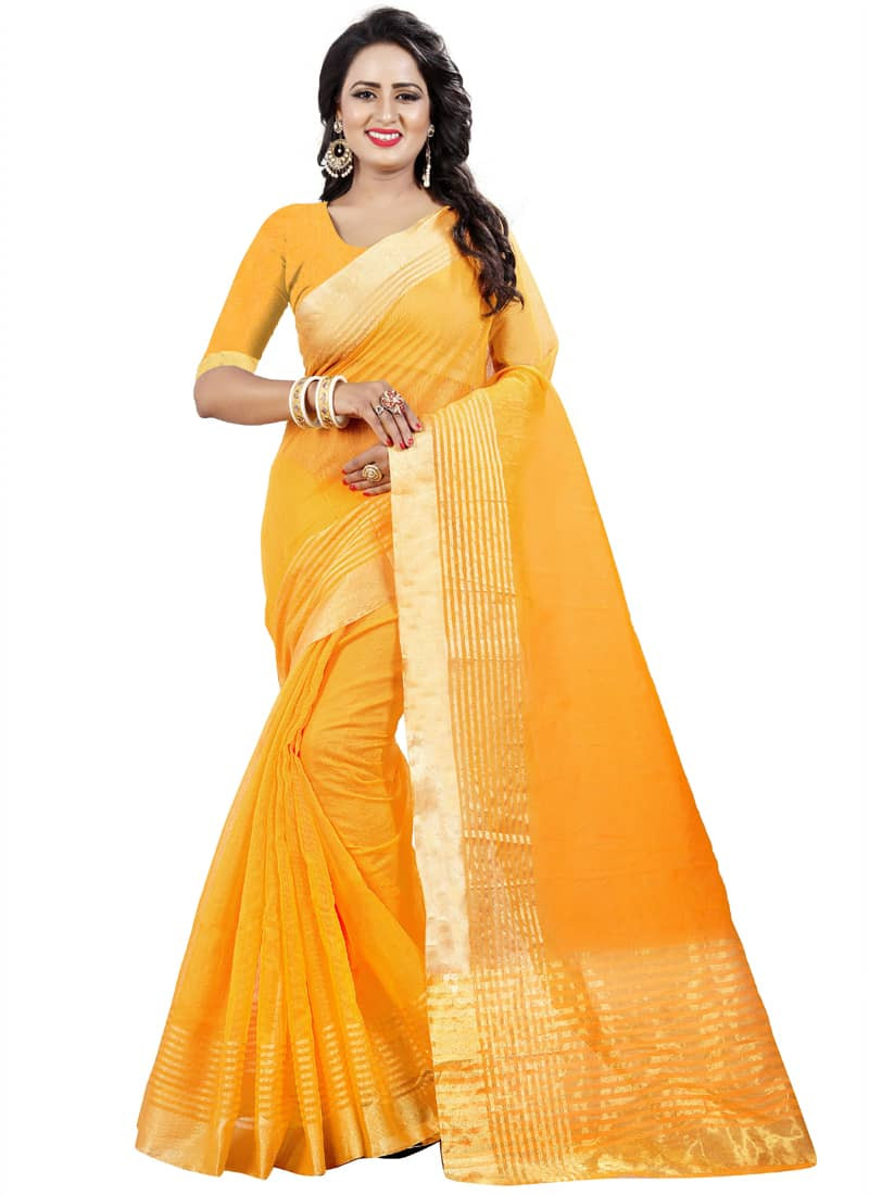 plain-partywear-yellow-cotton-silk-saree