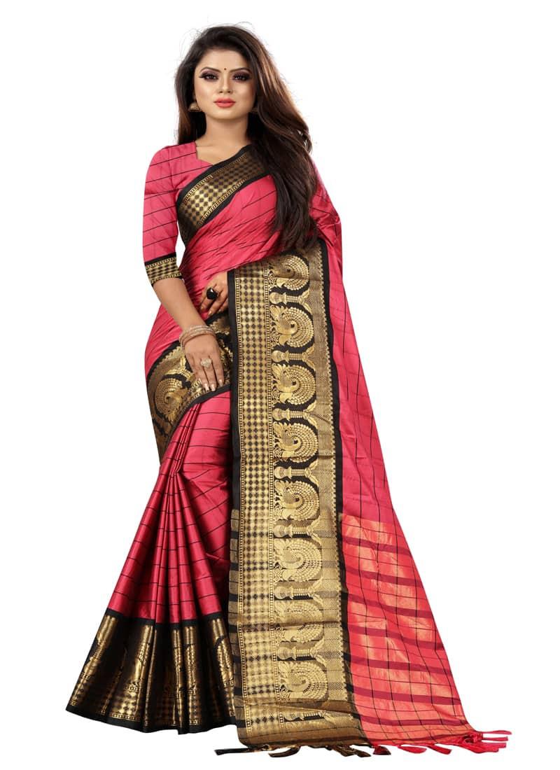 Simple Pink and Black Pure cotton Silk Saree