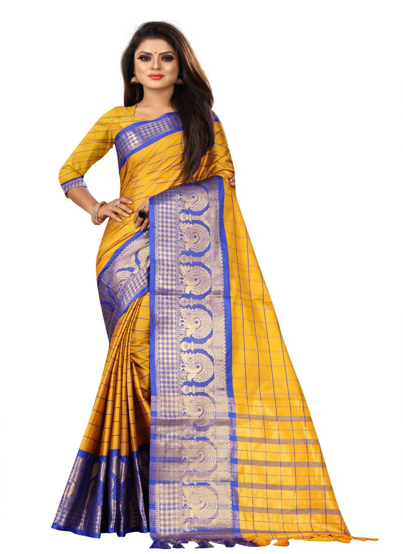 designer-yellow-and-blue-checks-cotton-silk-saree