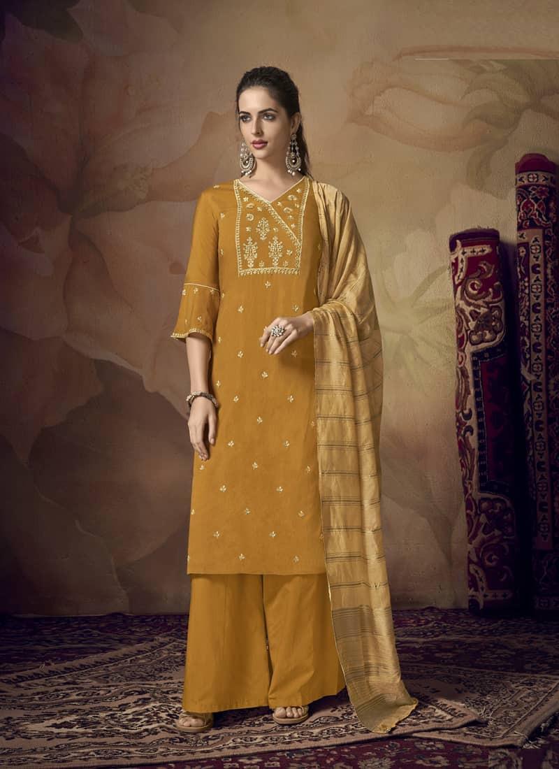 latest-yellow-silk-kurti-plazo-with-dupatta