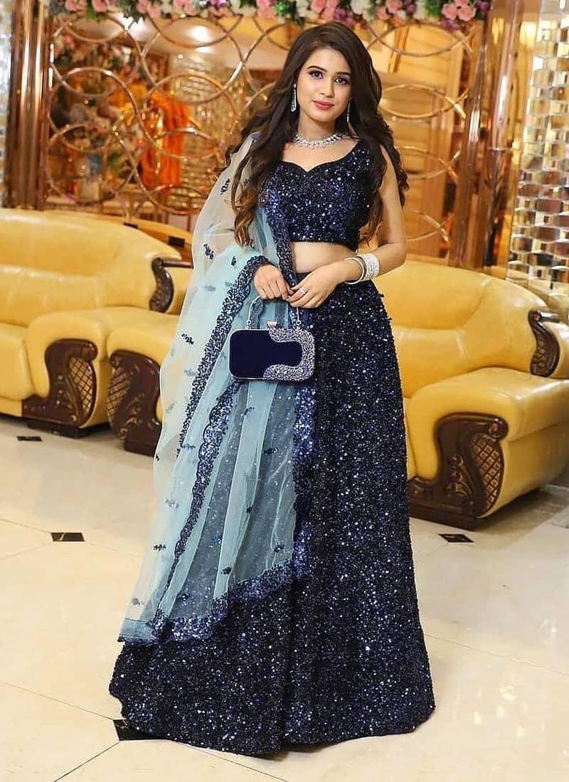 Partywear Heavy Velvet Blue Sequins Lehenga Choli
