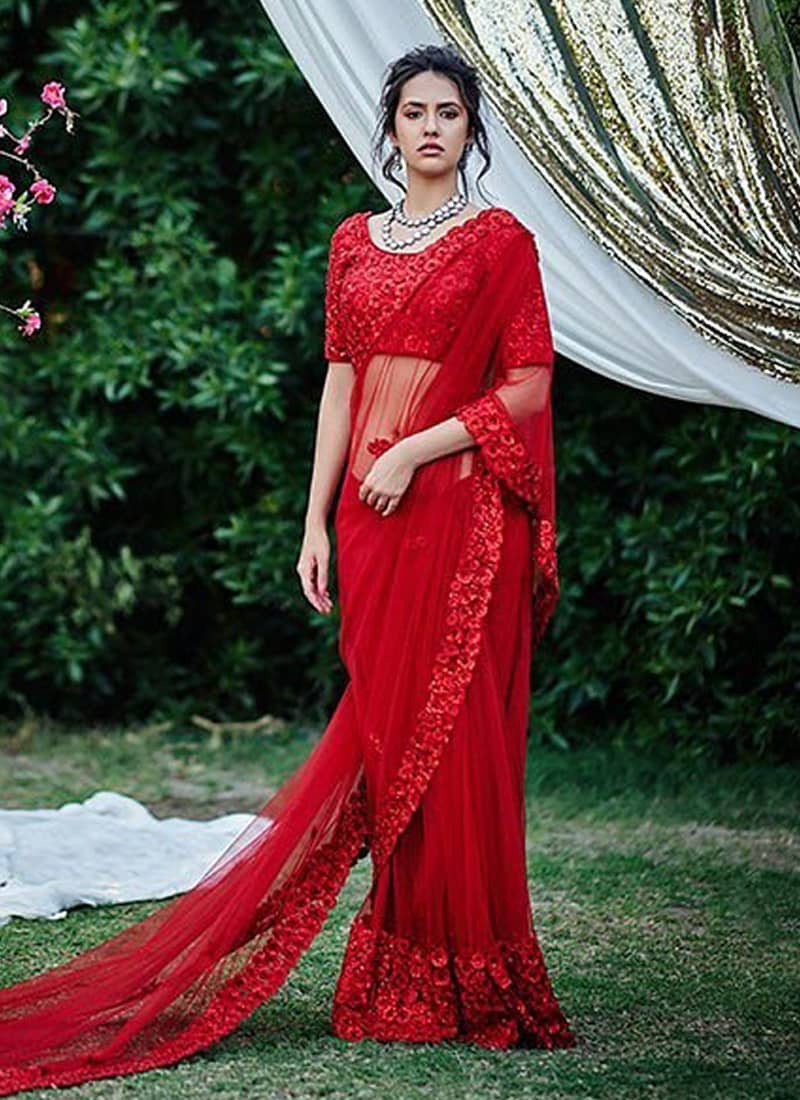 Stylish Partywear Red Net Sequins Work Saree