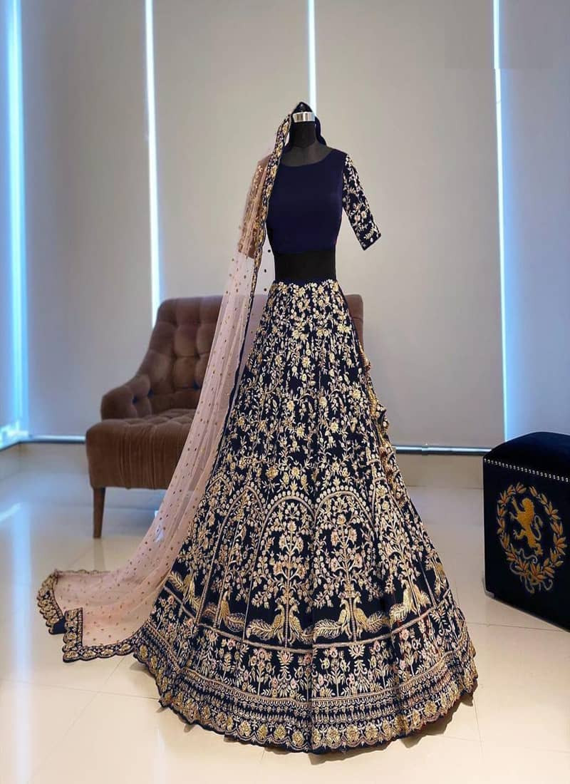 Letest Satin Heavy Blue Lehenga for Wedding
