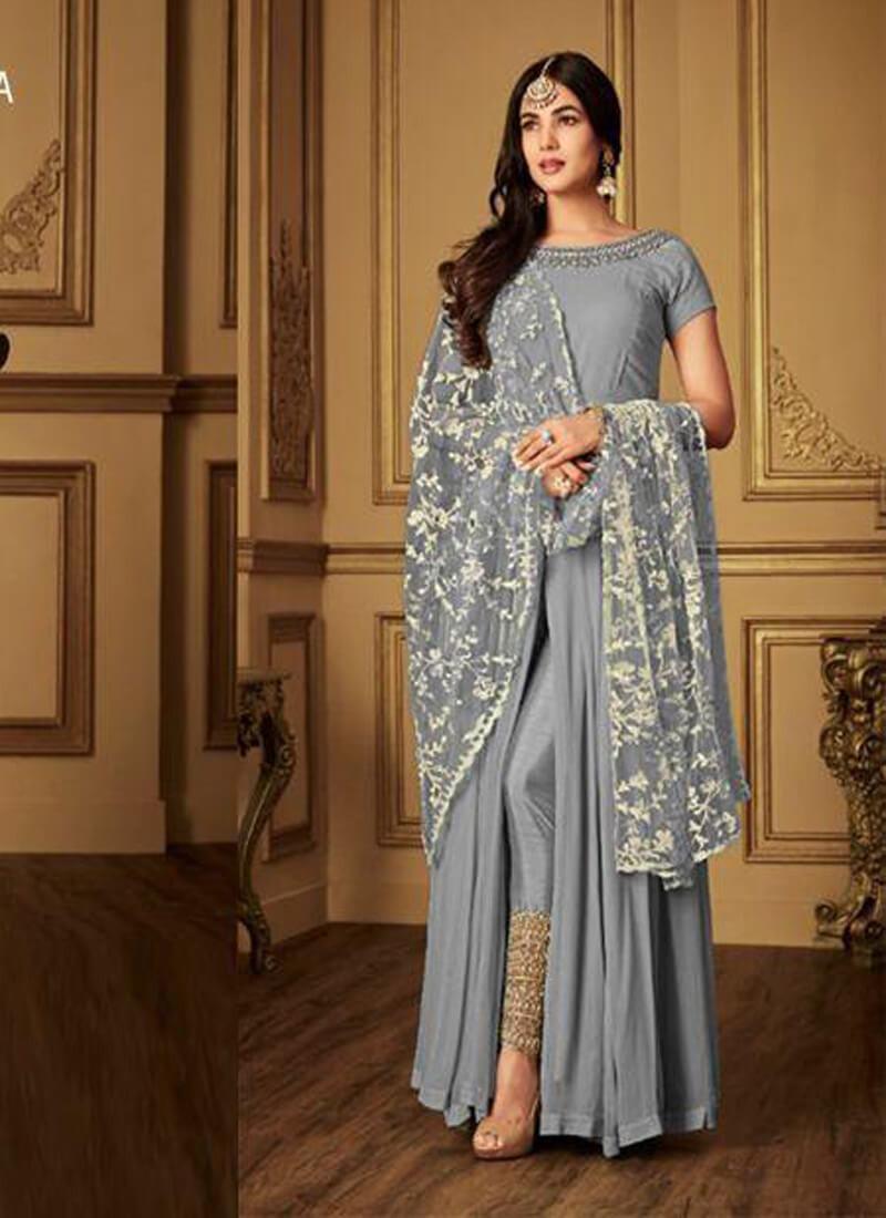 Sonal Chauhan  Designer Grey Salwar Suit