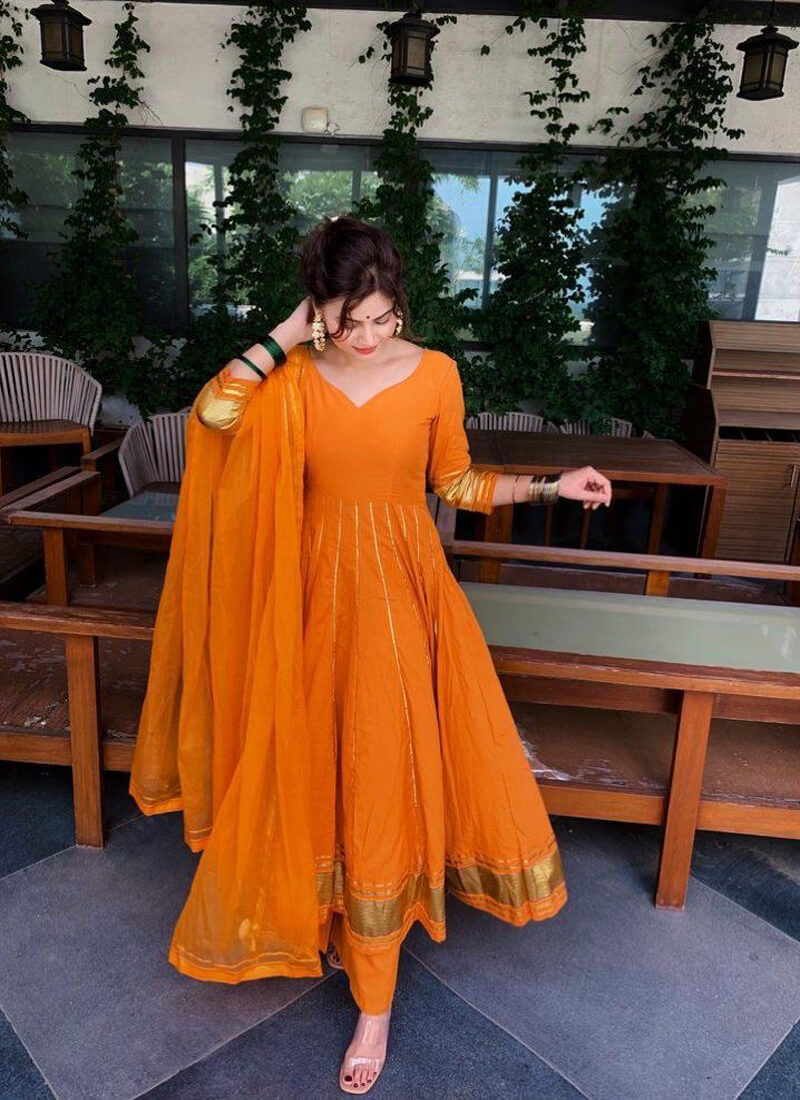 Party Wear Embroidery Orange Salwar Suit With Net Dupatta