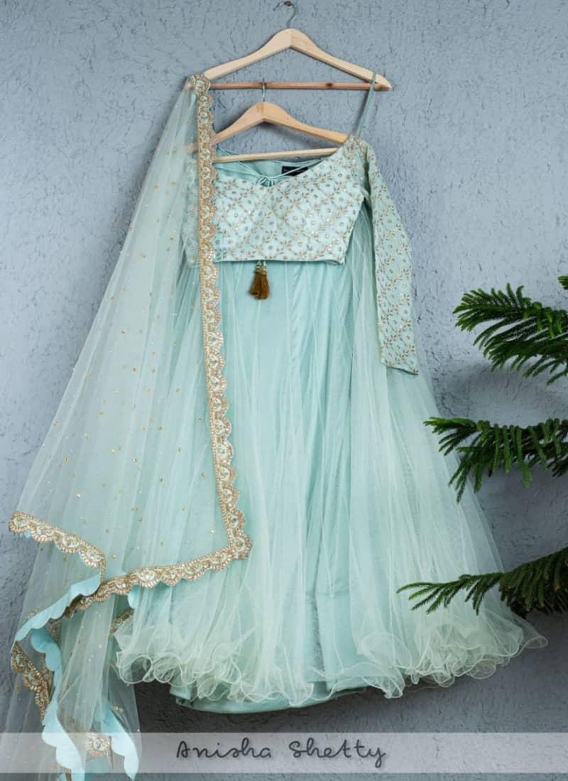 Stylish Sea Green Net Lehenga Choli