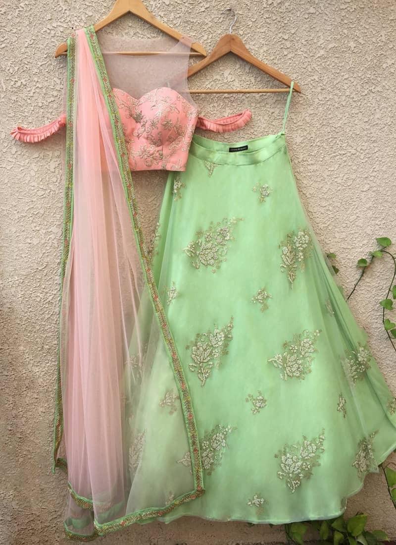 party-wear-net-heavy-ambrodary-green-lehenga