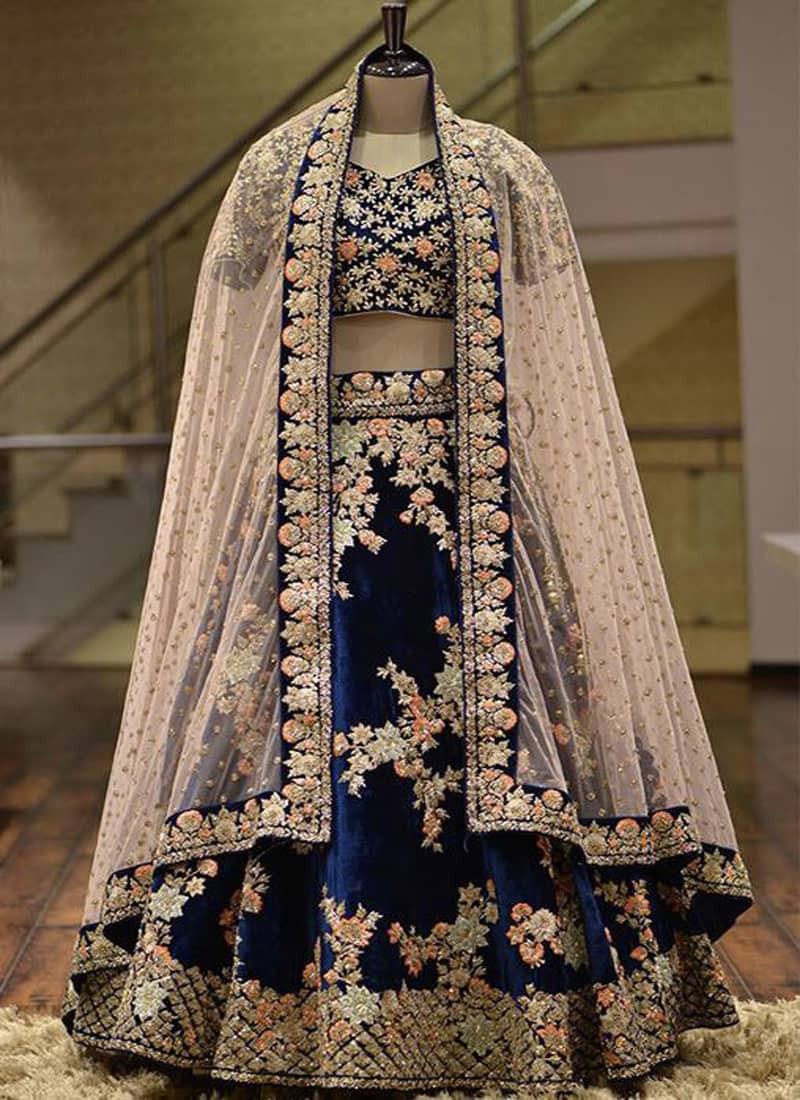 Designer Taffeta Silk with Heavy Embroidery Work Blue Lehenga Choli