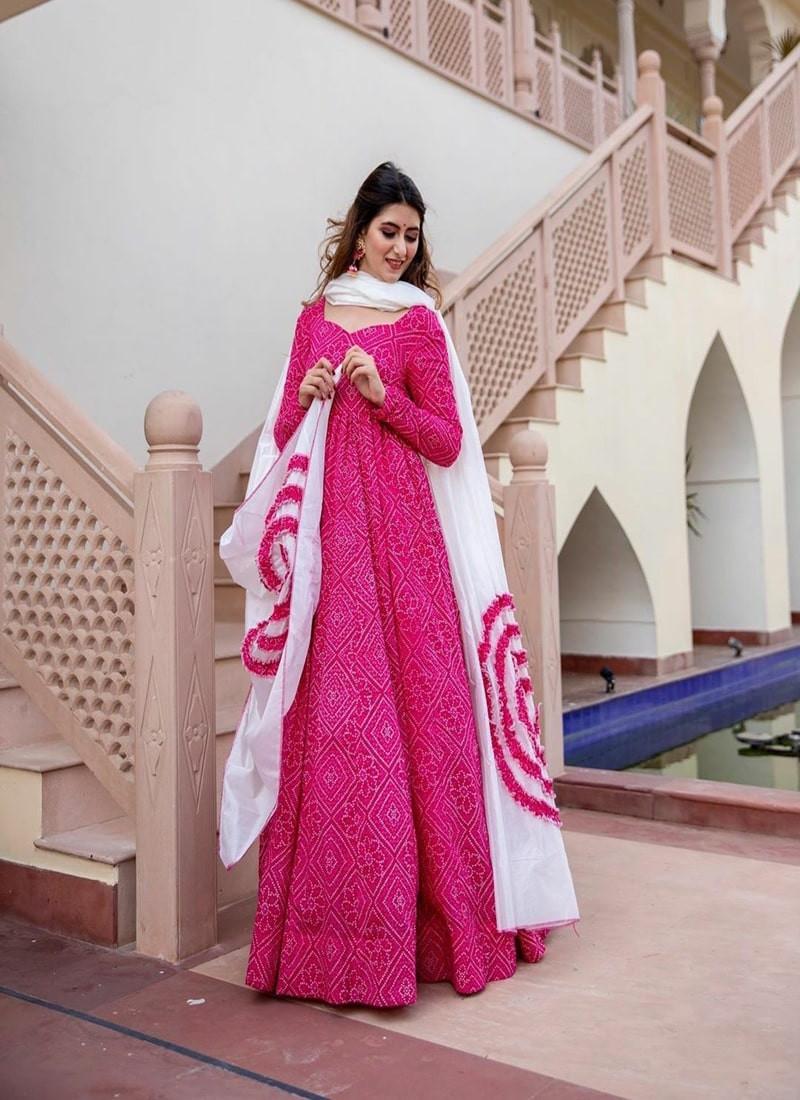 Designer Rani Pink Gown with Flowers Dupatta