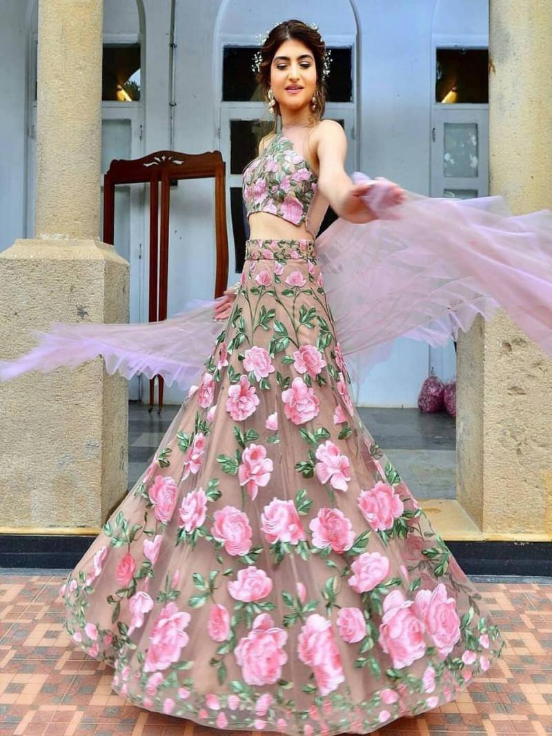 Designer Beige Embroidery Crop Top Soft Net Lehenga Choli with Dupatta