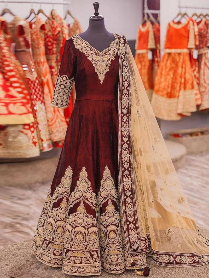 Designer Velvet Red Embroidery Gown for Wedding