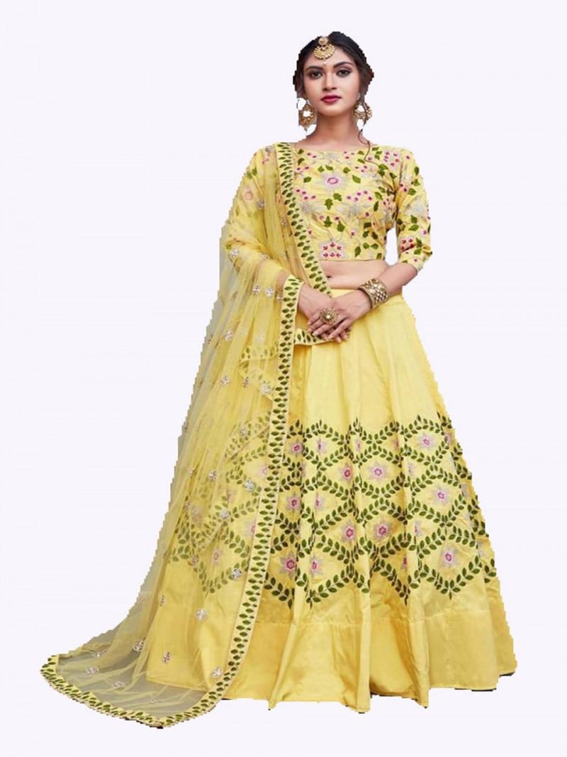 Party wear Embroidery Yellow Lehenga Choli For Women