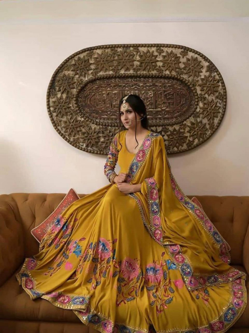 Designer Embroidery Yellow Anarkali Gown With Dupatta