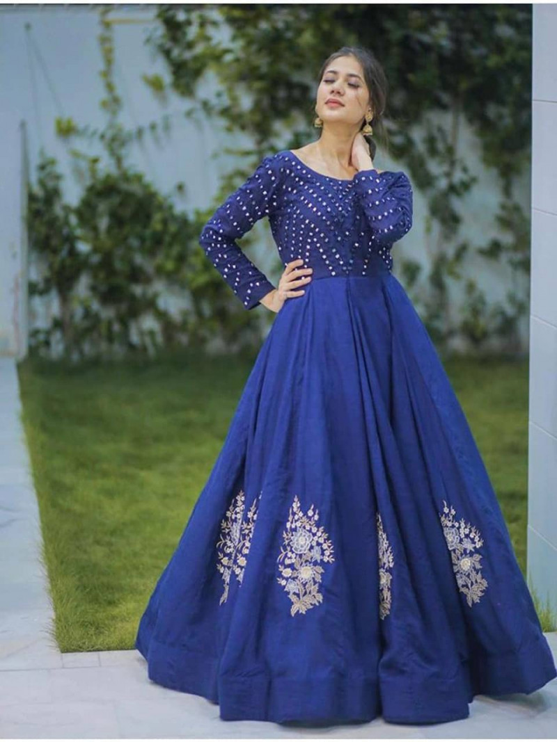 Party Wear Navy Blue Embroidery Anarkali Gown