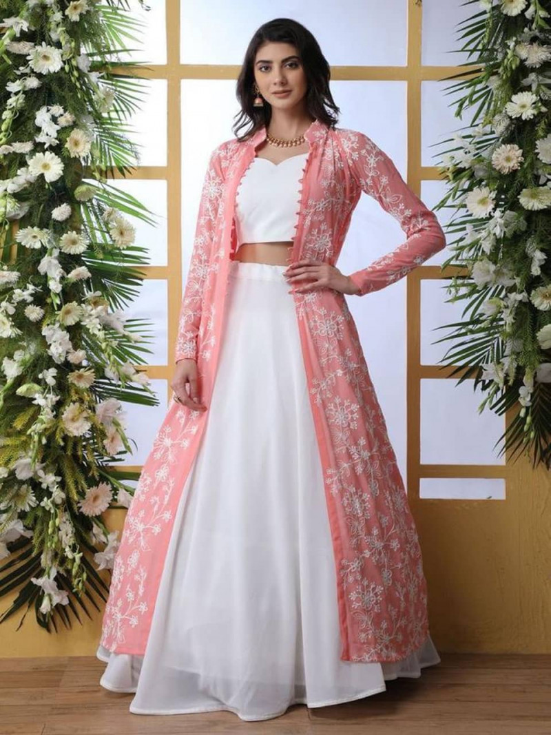 Party Wear White Anarkali Gown With Peach Koti