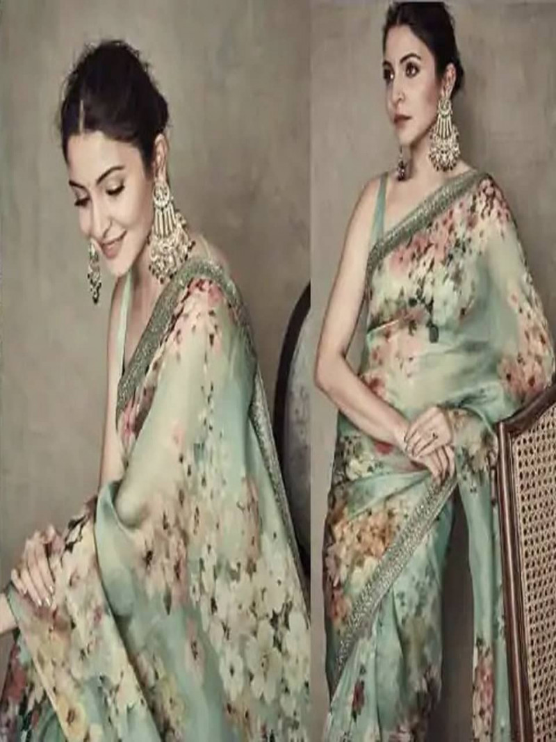 Anushka Sharma Style Silk Green Saree