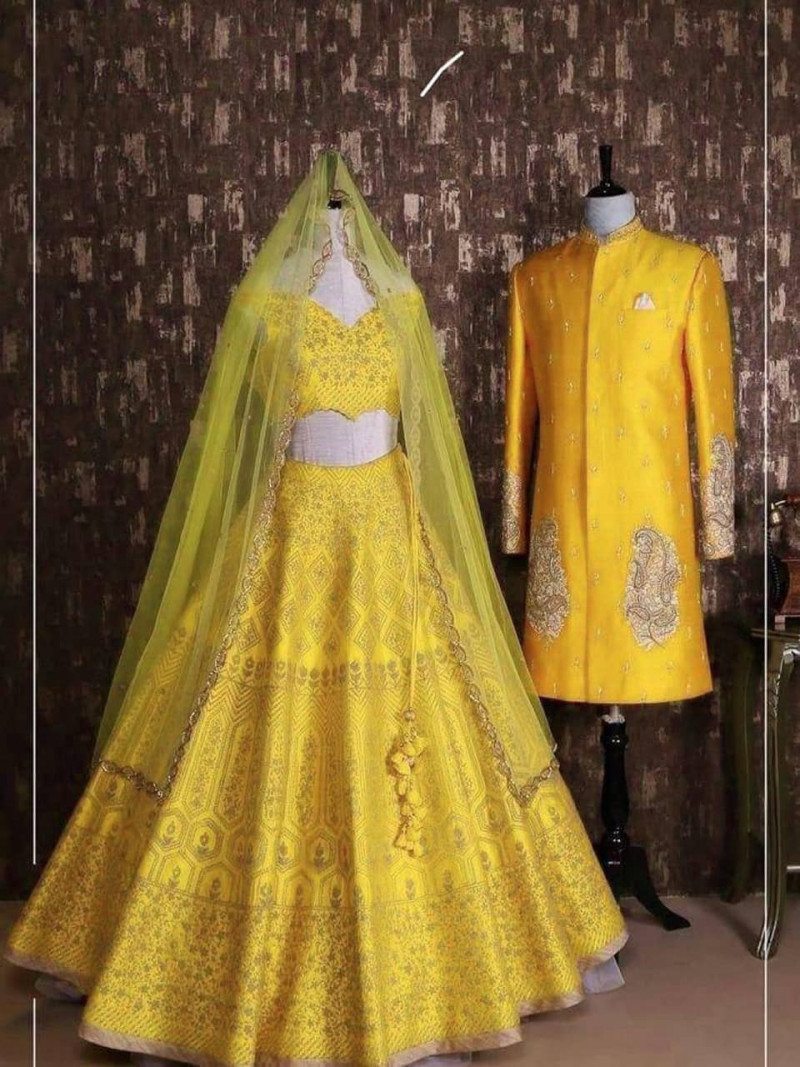 Latest Designer Yellow  Embroidery Work Lehenga Choli