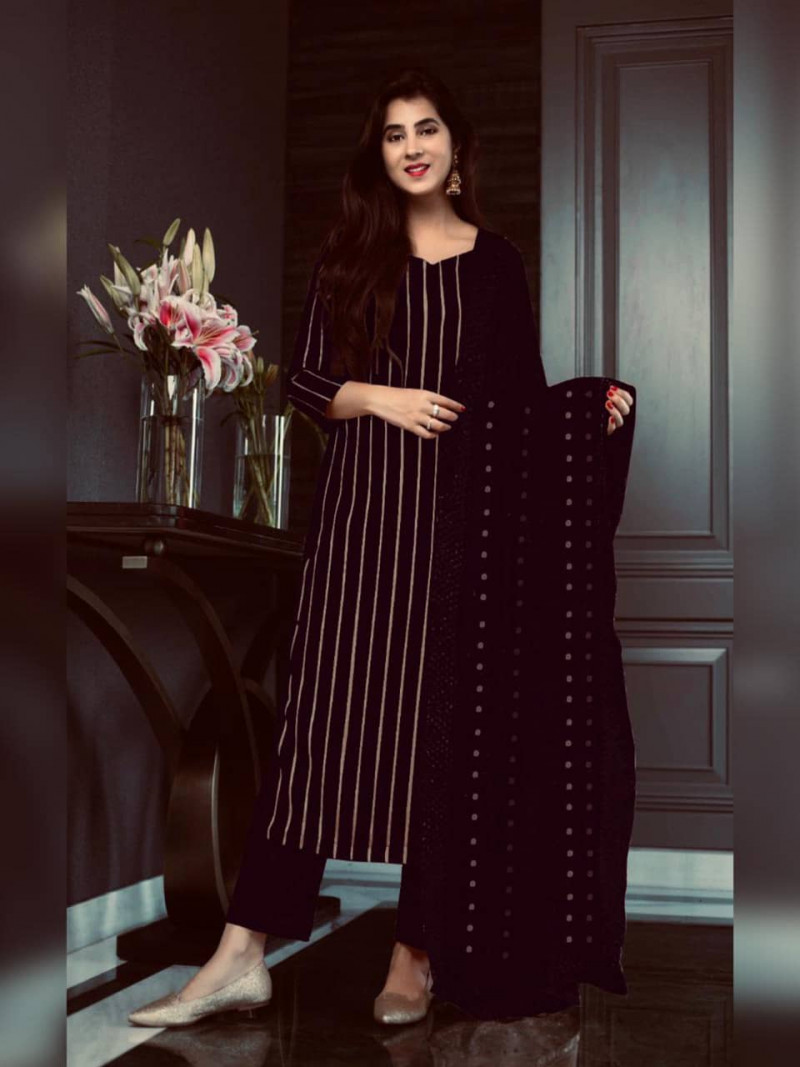 Brown Georgette Sequence Work Salwar Suits for Women
