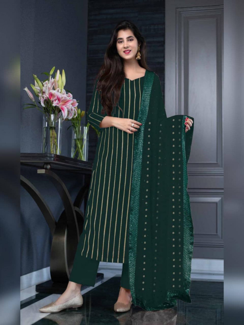 Fancy Green Georgette Salwar Suit with Sequence Work