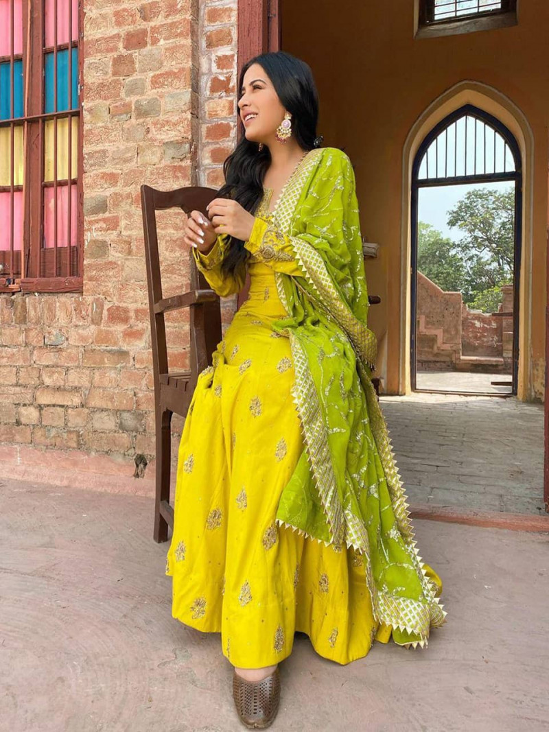 Yellow Color Banglory Anarkali Gown With Diamond Work