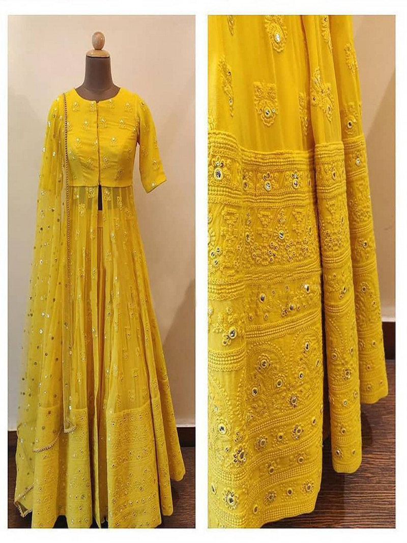 Fancy Yellow Embroidery Lehenga with Net Koti