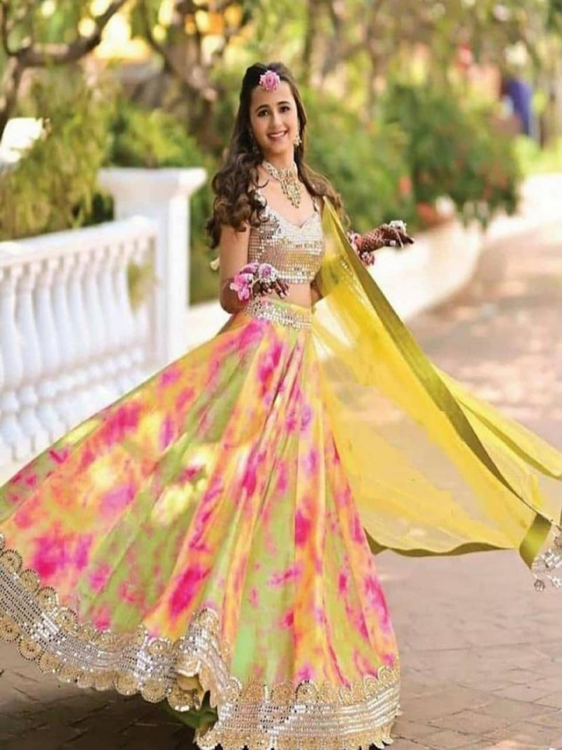 Designer Green and Yellow with Heavy Embroidery Work Lehenga