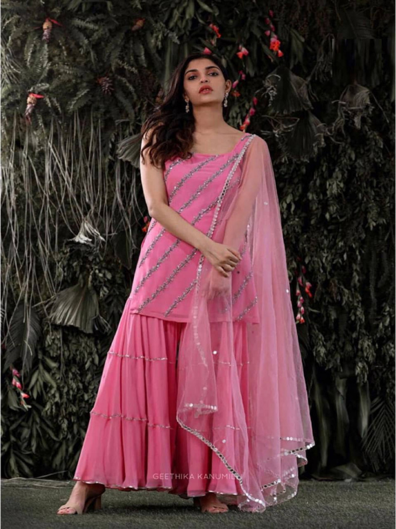 Designer Pink Georgette Sharara Suits with Sequins Work