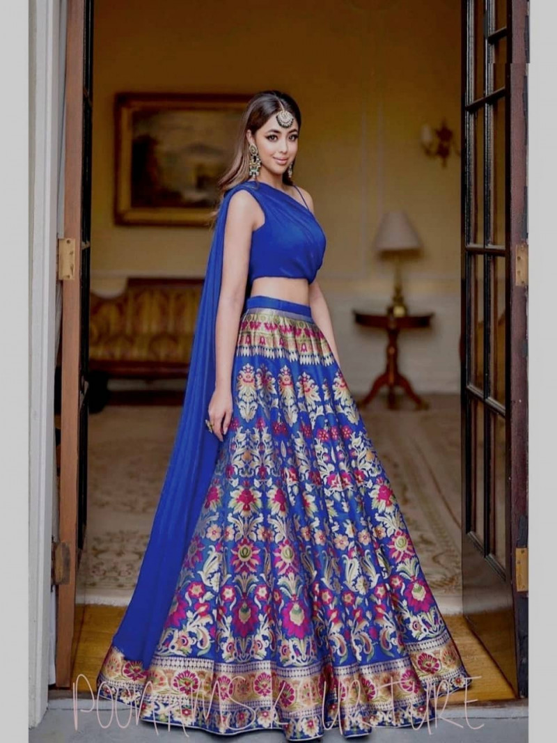 Designer Navy Blue Gotta Satin Silk Printed Work Lehenga