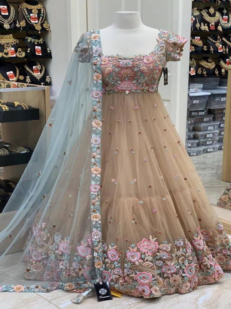 Party Wear Brown Net Floor Length Gown For Women